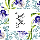 Blue iris floral botanical flower. Wild spring leaf wildflower isolated. Watercolor background illustration set. Watercolour drawing fashion aquarelle. Frame border ornament square.