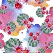 Fotografie grüne und rote Kakteen Aquarell Illustrationsset. nahtlose Hintergrundmuster. Stoff Tapete drucken Textur.