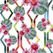 Zöld és piros kaktuszok akvarell illusztráció készlet. Varratmentes háttérben minta. Anyagot a nyomtatási textúrát.