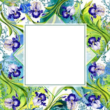 Blue iris floral botanical flower. Wild spring leaf wildflower isolated. Watercolor background illustration set. Watercolour drawing fashion aquarelle. Frame border ornament square. stock vector
