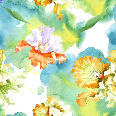 Orange white iris floral botanical flower. Wild spring leaf isolated. Watercolor illustration set. Watercolour drawing fashion aquarelle. Seamless background pattern. Fabric wallpaper print texture. stock vector