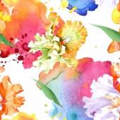 Fotografie Orange white iris floral botanical flower. Wild spring leaf isolated. Watercolor illustration set. Watercolour drawing fashion aquarelle. Seamless background pattern. Fabric wallpaper print texture.