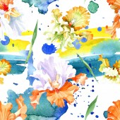 Orange white iris floral botanical flower. Wild spring leaf isolated. Watercolor illustration set. Watercolour drawing fashion aquarelle. Seamless background pattern. Fabric wallpaper print texture.