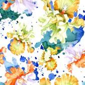 Fotografia Fiore di botanica floreale arancione iris bianco. Foglia di primavera selvaggio isolato. Insieme dellillustrazione dellacquerello. Aquarelle di moda disegno acquerello. Reticolo senza giunte della priorità bassa. Stampa tessuto per tappezzeria