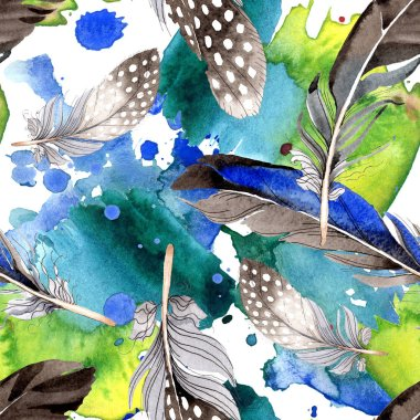 Watercolor blue and black bird feather from wing. Aquarelle feather for background, texture, wrapper pattern. Watercolour drawing fashion seamless background pattern. Fabric wallpaper print texture. stock vector