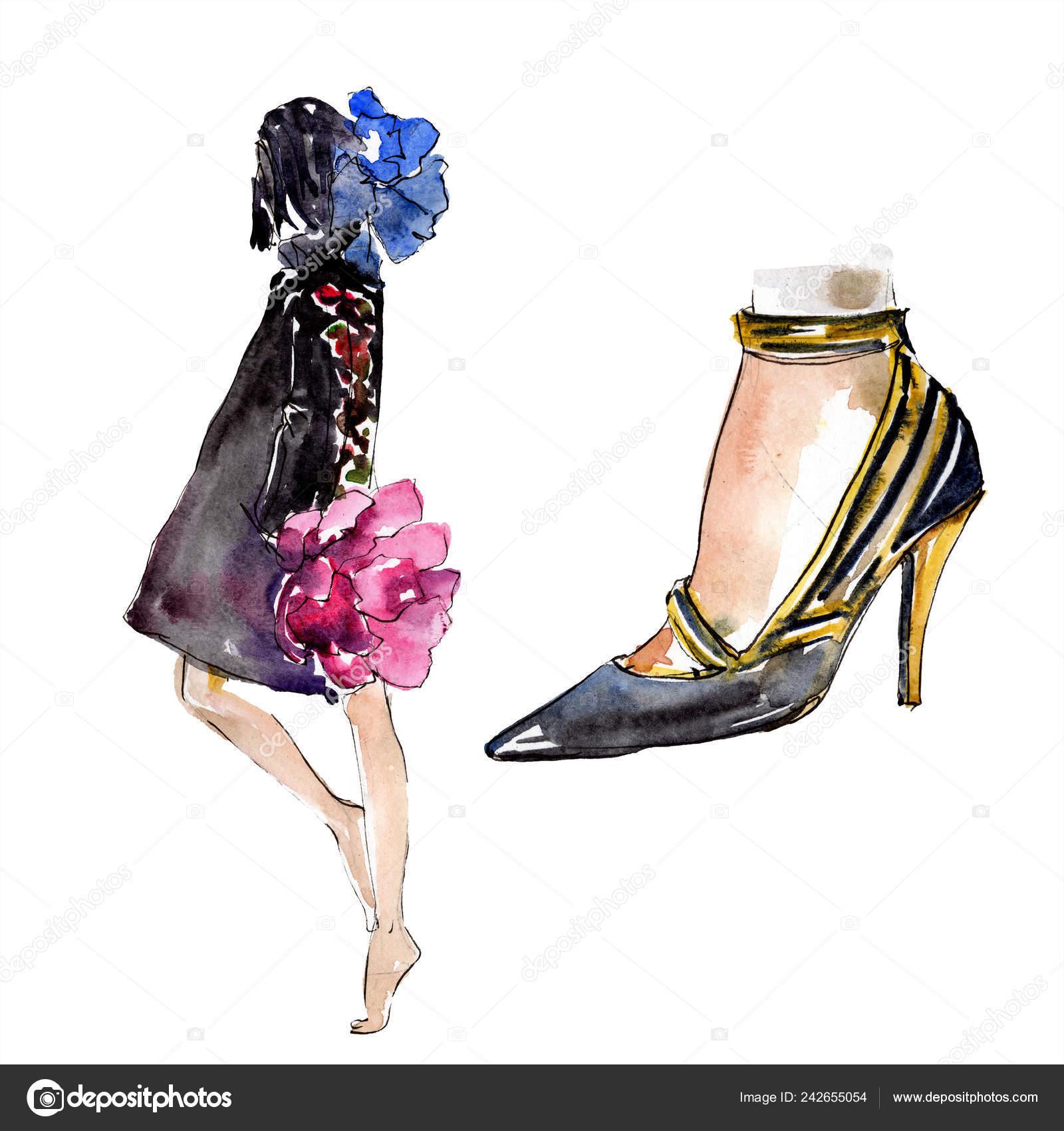 3e24eebdc85 Женщина и обуви эскиз Иллюстрация гламур моды в изолированных элемент  акварель стиля. Одежда аксессуары набор мода модный наряд.