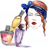 Lány és parfümök vázlat a divat-glamour illusztráció akvarell stílusú elszigetelt elemben. Ruhák tartozékok beállítása trendi divatos ruhát. Akvarell háttér illusztráció készlet.