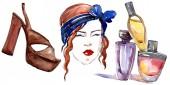 Lány-, illat- és cipő vázlat a divat-glamour illusztráció akvarell stílusú elszigetelt elemben. Ruhák tartozékok beállítása trendi divatos ruhát. Akvarell háttér illusztráció készlet.