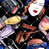 Divatos vázlat divat glamour illusztráció egy akvarell stílusú elemben. Ruhák tartozékok beállítása trendi divatos ruhát. Akvarell meghatározott mintát varratmentes háttérben. Anyagot a nyomtatási textúrát.