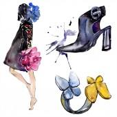 Nő, a ring és a cipő vázlat a divat-glamour illusztráció akvarell stílusú elszigetelt elemben. Ruhák tartozékok beállítása trendi divatos ruhát. Akvarell háttér illusztráció készlet.