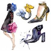 Žena, prsten a obuv skica módní glamour ilustrace v izolovaných prvku akvarel styl. Oblečení doplňky sada vogue módní oblečení. Sada akvarel obrázku pozadí