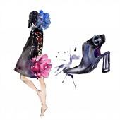 Frau und Schuh skizzieren Mode Glamour Illustration in einem Aquarell Stil isolierten Element. Kleidung Accessoires setzen trendige Mode Outfit. Aquarell Hintergrund Illustration Set.