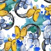 Módní skica módní glamour ilustrace v akvarel styl prvku. Oblečení doplňky sada vogue módní oblečení. Akvarel nastavit vzor bezešvé pozadí. Fabric tapety tisku textura.