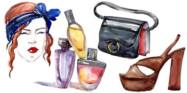 Girl, perfume, shoe and bag sketch fashion glamour illustration in a watercolor style isolated element. Clothes accessories set trendy vogue outfit. Watercolour background illustration set. stock vector