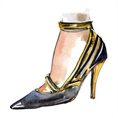 Black high heel shoes sketch fashion glamour illustration in a watercolor style isolated element. Clothes accessories set trendy vogue outfit. Watercolour background illustration set. stock vector