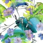 Rózsaszín és lila len botanikai virág. Vad tavaszi levél elszigetelt. Akvarell illusztráció készlet. Akvarell rajz divat aquarelle. Varratmentes háttérben minta. Anyagot a nyomtatási textúrát.