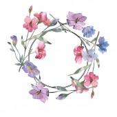Fotografie Růžové a fialové lnu květinové botanické květin. Divoký jarní listové wildflower izolován. Sada akvarel pozadí obrázku. Akvarel výkresu módní aquarelle. Frame hranice ozdoba náměstí