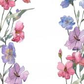 Rózsaszín és lila len floral botanikus virág. Vad tavaszi levél vadvirág elszigetelt. Akvarell háttér illusztráció készlet. Akvarell rajz divat aquarelle. Test határ Dísz tér