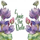 Fényképek Rózsaszín és lila foral botanikai lótuszvirág. Vad tavaszi levél vadvirág elszigetelt. Akvarell háttér illusztráció készlet. Akvarell rajz divat aquarelle. Test határ Dísz tér