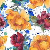 Žluté a vínové pivoňky. Sada akvarel ilustrace. Vzor bezešvé pozadí. Fabric tapety tisku textura.