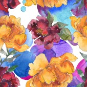 Photo Yellow and burgundy peonies. Watercolor illustration set. Seamless background pattern. Fabric wallpaper print texture.