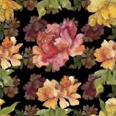 Sárga és piros pünkösdi rózsa. Akvarell illusztráció készlet. Varratmentes háttérben minta. Anyagot a nyomtatási textúrát