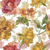 Sárga és piros pünkösdi rózsa. Akvarell illusztráció készlet. Varratmentes háttérben minta. Anyagot a nyomtatási textúrát.