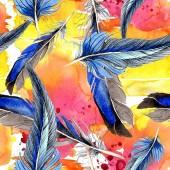 Ptačí peří z křídla. Sada akvarel pozadí obrázku. Vzor bezešvé pozadí. Fabric tapety tisku textura