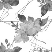 Piros és sárga trópusi botanikai virágok. Vad tavaszi levél elszigetelt. Akvarell illusztráció készlet. Akvarell rajz divat aquarelle. Varratmentes háttérben minta. Anyagot a nyomtatási textúrát.
