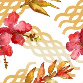 Red flowers watercolor background illustration set. Seamless background pattern.