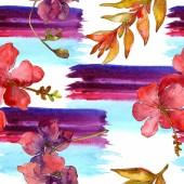 Állítsa be a piros virágok-akvarell háttér illusztráció. Varratmentes háttérben minta.