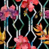 Červené květy akvarel pozadí obrázku nachází. Vzor bezešvé pozadí