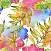 Tropical floral botanical flowers. Exotic plant leaf isolated. Watercolor illustration set. Watercolour drawing fashion aquarelle. Seamless background pattern. Fabric wallpaper print texture.