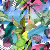 Zöld leveles növény botanikus. Egzotikus trópusi Hawaii nyári. Akvarell illusztráció készlet. Akvarell rajz divat aquarelle elszigetelt. Varratmentes háttérben minta. Anyagot a nyomtatási textúrát.