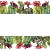 grünen Kaktus Blumen botanische Blume. wildes Frühlingsblatt Wildblume isoliert. Aquarell Hintergrundillustration Set. Aquarell zeichnen Mode-Aquarell. Rahmen Rand Ornament Quadrat.