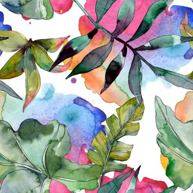 Green leaf plant botanical. Exotic tropical hawaiian summer. Watercolor illustration set. Watercolour drawing fashion aquarelle isolated. Seamless background pattern. Fabric wallpaper print texture.