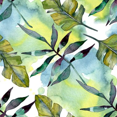 Green leaf plant botanical. Exotic tropical hawaiian summer. Watercolor illustration set. Watercolour drawing fashion aquarelle isolated. Seamless background pattern. Fabric wallpaper print texture. stock vector