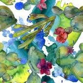 Fotografie Zelená kaktusy sada akvarel ilustrace. Vzor bezešvé pozadí. Fabric tapety tisku textura.