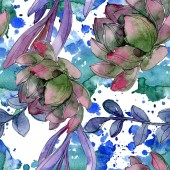 Sukulentní květinové botanické květin. Divoký jarní listové izolované. Sada akvarel ilustrace. Akvarel výkresu módní aquarelle. Vzor bezešvé pozadí. Fabric tapety tisku textura