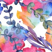 Photo Succulent floral botanical flower. Wild spring leaf isolated. Watercolor illustration set. Watercolour drawing fashion aquarelle. Seamless background pattern. Fabric wallpaper print texture.