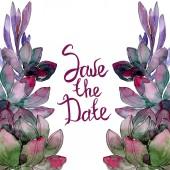 Fényképek Zamatos floral botanikus virág. Vad tavaszi levél vadvirág elszigetelt. Akvarell háttér illusztráció készlet. Akvarell rajz divat aquarelle elszigetelt. Test határ Dísz tér