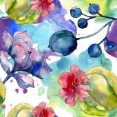 Sukulentní botanické květin. Sada akvarel ilustrace. Vzor bezešvé pozadí. Fabric tapety tisku textura.