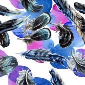 Modré a černé ptačího peří z křídla. Sada akvarel pozadí obrázku. Vzor bezešvé pozadí