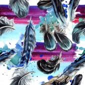 Fényképek Kék és fekete madár toll szárny. Akvarell háttér illusztráció készlet. Varratmentes háttérben minta