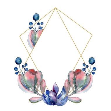 Succulent botanical flowers. Watercolor background illustration set. Frame border ornament. stock vector
