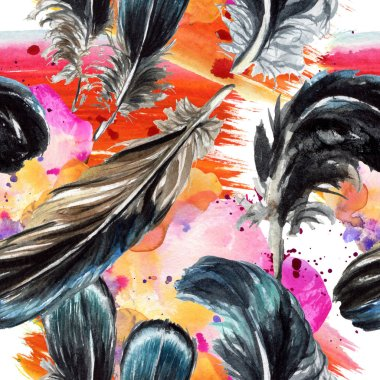 Blue and black bird feathers from wing. Watercolor background illustration set. Seamless background pattern. stock vector