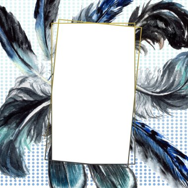 Blue and black bird feathers from wing isolated. Watercolor background illustration set. Frame border ornament with copy space. stock vector