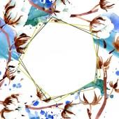 Bavlněné botanické květin. Sada akvarel pozadí obrázku. Frame hranice ornament.
