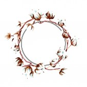 Pamut botanikai virágok. Akvarell háttér illusztráció készlet. Test határ dísz.