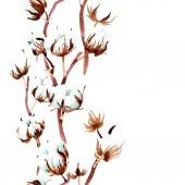Bavlněné botanické květin. Sada akvarel ilustrace. Vzor bezešvé pozadí. Fabric tapety tisku textura.